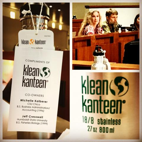 Jeff Cresswell (HSU '99) and Michelle Kalberer (Chico '96) discussing their work with Klean Kanteen at the CSU Trustees meeting on 1/31/18.